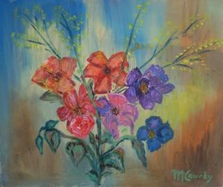 Petit bouquet : peinture à l`huile sur toile 46 x 38 cm - Avril 2013