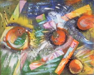 Petit cosmos : peinture acrylique sur toile 41 cm x 33 cm