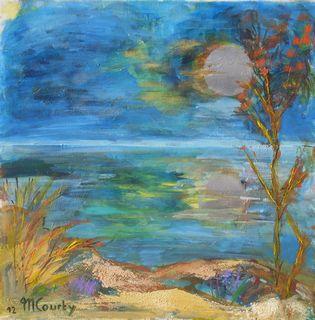 Pleine lune sur le lac : peinture acrylique sur toile avec peinture argentéé 50 cm x 50 cm