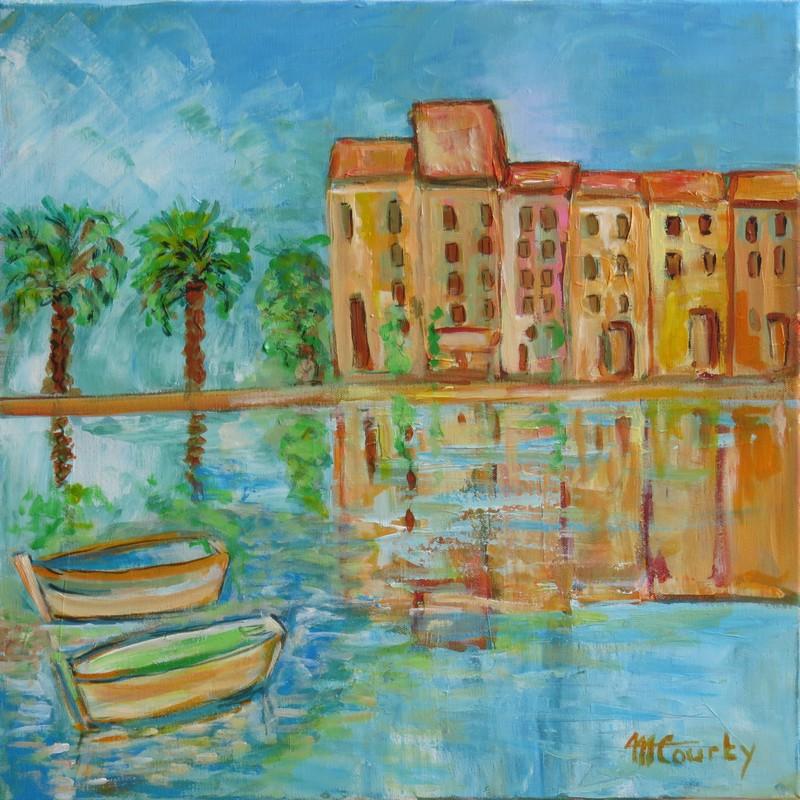 Port provencal : peinture acrylique sur toile 50 x 50 cm
