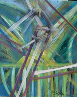 Prisme vert: peinture acrylique sur toile 73 cm x 60 cm