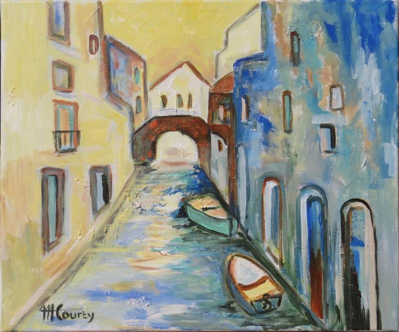 Promenade à Venise : peinture acrylique sur toile 46 x 55 cm