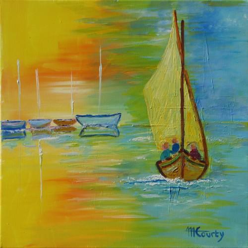 Promenade en mer : peinture acrylique sur toile 50 x 50 cm