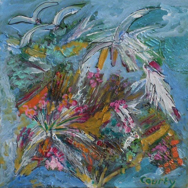 Recif corallien : peinture acrylique sur toile 40 cm x 40 cm