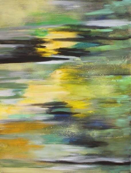 Reflets : peinture acrylique sur toile 65 cm x 50 cm