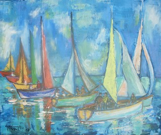 Régates : peinture acrylique sur toile 72 cm x 60 cm