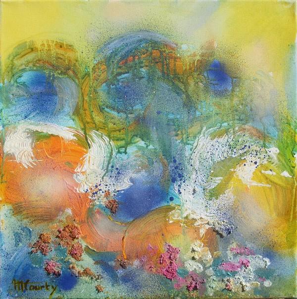 Remous marins : peinture acrylique sur toile avec relief 50 cm x 50 cm