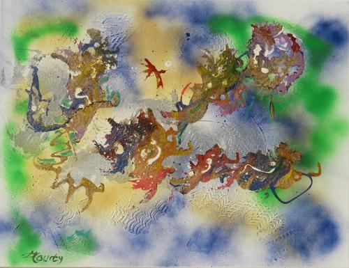 Rêve de chine : peinture acrylique avec mixed Media 65 cm x 50 cm