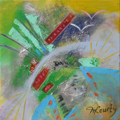 Rêverie : peinture acrylique sur toile 50 x 50 cm , effets relief et brillant