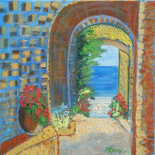 Riad : peinture acrylique et huile sur toile avec relief 60 cm x 60 cm
