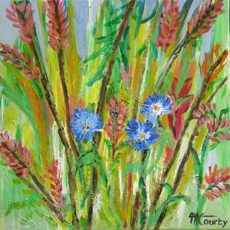 Roseaux fleuris : peinture acrylique sur toile 50 x 50 cm