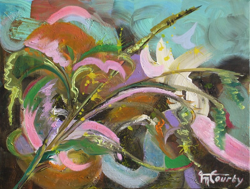 Roseaux : peinture acrylique sur toile 61 cm x 46 cm