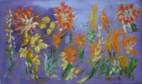 Sarabande de fleurs : peinture acrylique sur toile 55 x 33 cm