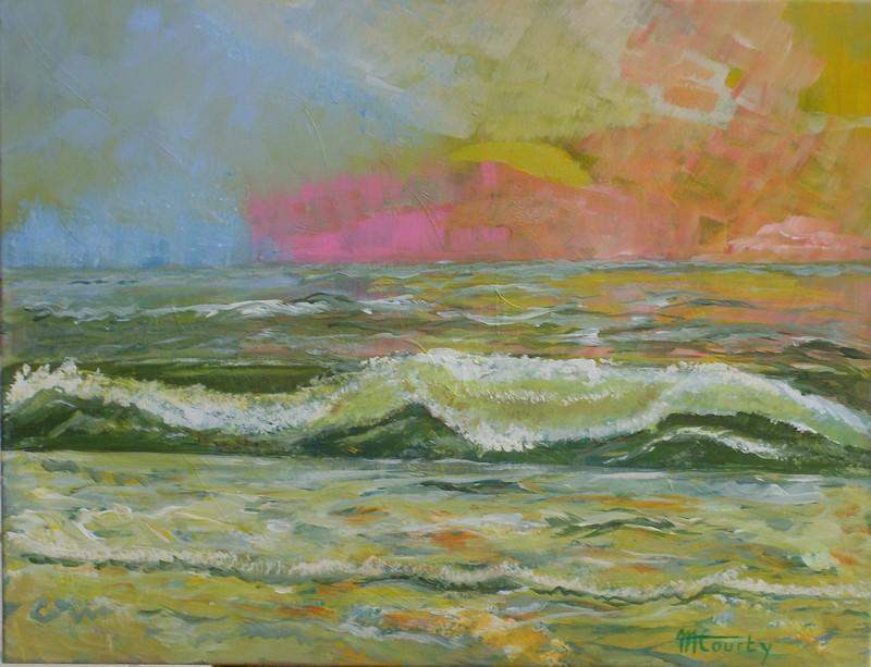 Sérénité marine : Peinture acrylique sur toile 65 cm x 50 cm