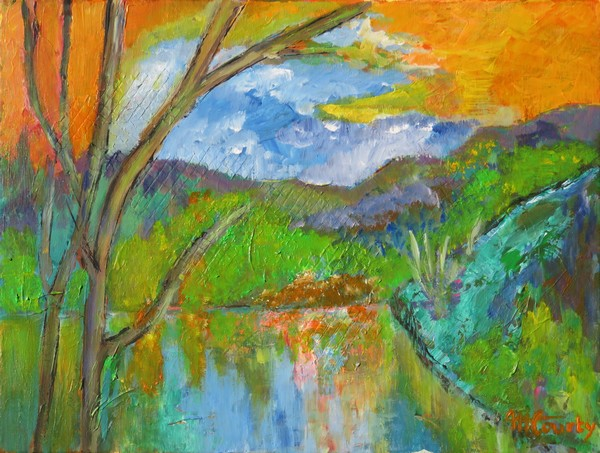 Le soir au bord du lac : peinture acrylique sur toile 61 x 46 cm