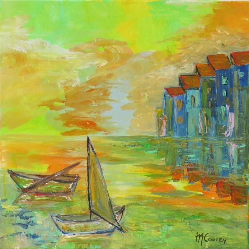 Soir sur le port : peinture acrylique sur toile 50 x 50 cm