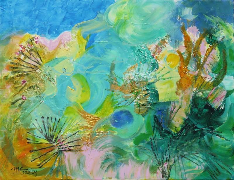 Sous la mer : peinture acrylique sur toile 50 x 65 cm