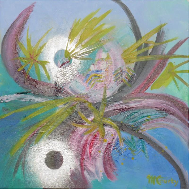 Taureau sous la lune : peinture acrylique sur toile 50 x 50 cm