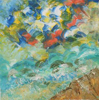 Tempête en mer : peinture acrylique sur toile avec relief 50 x 50 cm