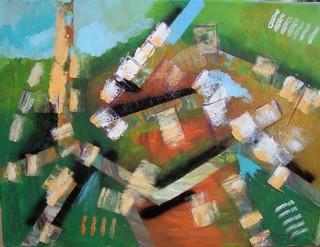 Urbanisme: peinture acrylique sur toile 61 cm x 46 cm