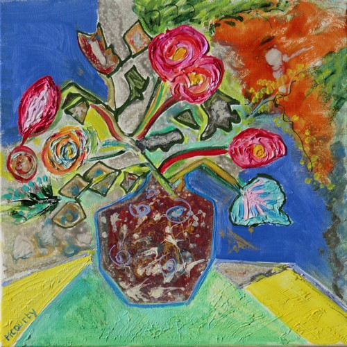 Vase céramique : peinture acrylique et vitrail sur toile 40 x 40 cm