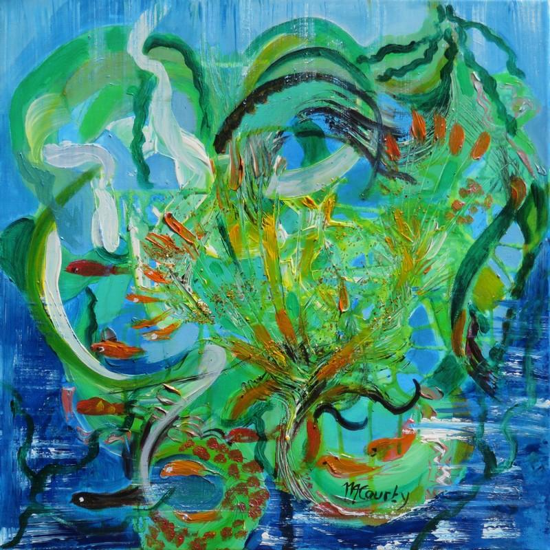 Vie sous-marine : peinture acrylique sur toile 50 x 50 cm