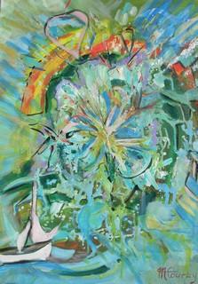Voyage sideral: peinture acrylique sur toile 50 cm x 65 cm