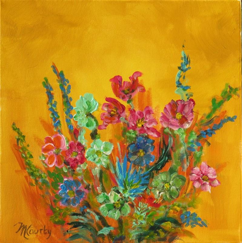 Bouquet champetre : peinture acrylique sur toile 50 cm x 50 cm