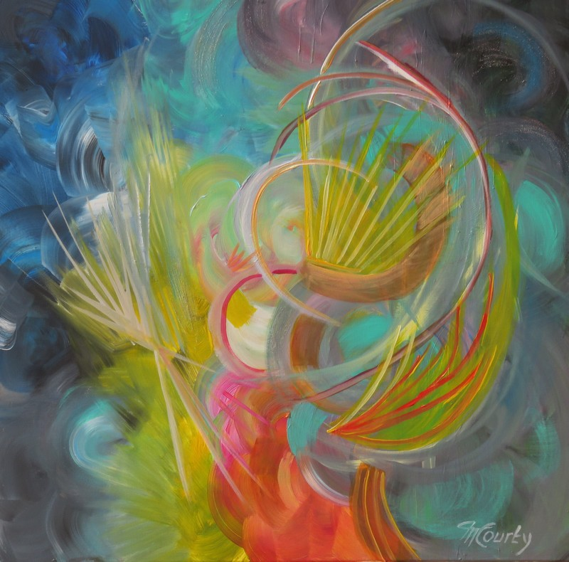 Bouquet final : peinture acrylique sur toile 80 x 80 cm