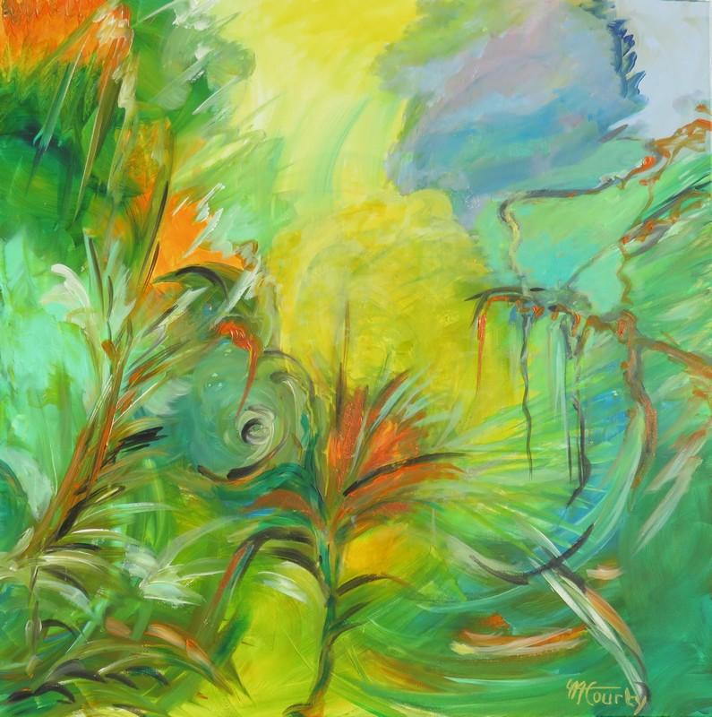 Vallon sauvage : peinture acrylique sur toile 80 cm x 80 cm
